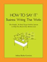 How to Say it Business Writing that Works PDF