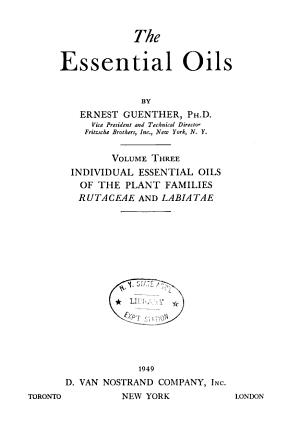 The Essential Oils  Individual essential oils of the plant families Rutaceae and Labiatae