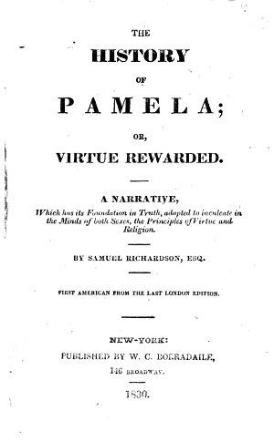 The History of Pamela     First American from the Last London Edition