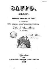Saffo: tragadia lirica in tre parti da rappresentarsi nel teatro dell'eccellentissima cittá di Barcellona nel anno 1842