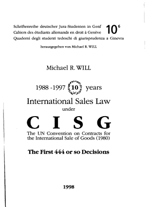 International sales law under CISG