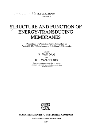 Structure and Function of Energy-transducing Membranes