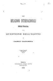 Le relazioni internazionali dell' Italia e la questione dell' Egitto