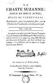 La chaste Suzanne: pièce en deux actes mêlée de vaudevilles