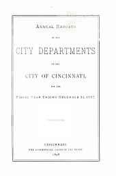 Annual Reports of the City Departments of the City of Cincinnati ...