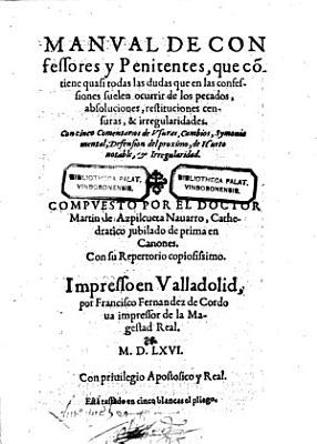 Manual de confessores y penitentes etc PDF