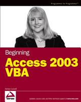 Beginning Access 2003 VBA PDF