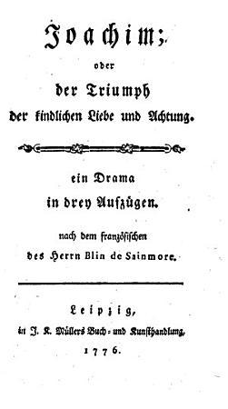 Joachim  oder der Triumph der kindlichen Liebe und Achtung  ein Drama in 3 Aufz  PDF