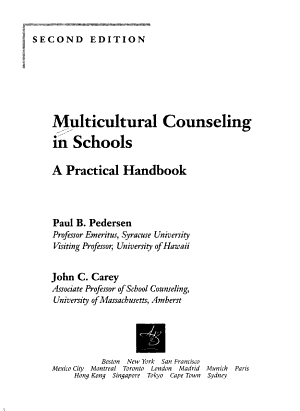 Multicultural Counseling in Schools PDF