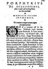 Porphyrius de Occasionibus, sive causis ad intelligibilia nos ducentibus