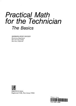 Practical Math for the Technician PDF