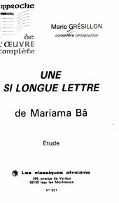 Une si longue lettre de Mariama B   PDF