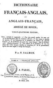 Dictionnaire français-anglais et anglais-français, abrégé: Volume 1