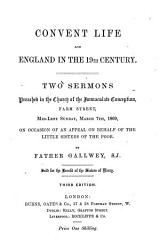 Convent life and England in the 19th century  2 sermons PDF