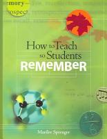 How to Teach So Students Remember PDF