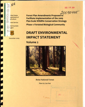 Forest Plan Amendments Proposed to Facilitate Implementation of the 2009 Plan-Scale Wildlife Conservation Strategy, Phase 1: Forested Biological Community