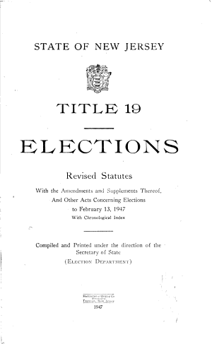 State of New Jersey Title 19 Elections PDF