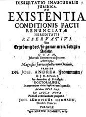 De existentia conditionis pacti renunciatae hereditatis