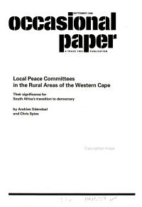 Local Peace Committees In  the Rural Areas of the Western Cape PDF