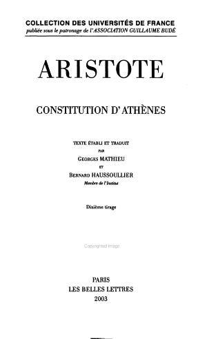 Aristote  Constitution D Athenes