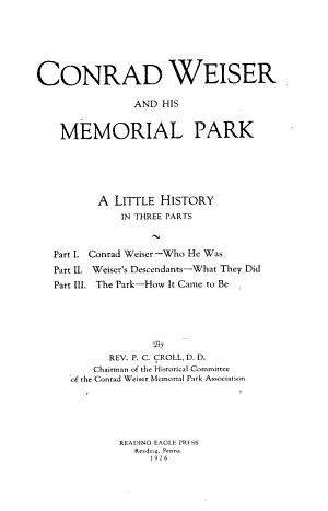 Conrad Weiser and His Memorial Park