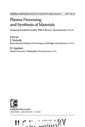 Plasma Processing and Synthesis of Materials PDF