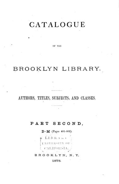 Download Catalogue of the Mercantile Library of Brooklyn  D M Book