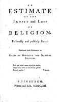 An Estimate of the Profit and Loss of Religion  Personally and Publicly Stated PDF
