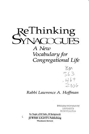Rethinking Synagogues PDF