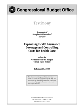 Expanding Health Insurance Coverage and Controlling Costs for Health Care: Testimony Before the Committee on the Budget, U. S. Senate