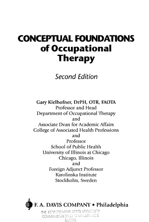 Conceptual Foundations of Occupational Therapy PDF