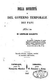 Della sovranità e del governo temporale dei papi libri tre
