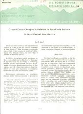 Ground-cover Changes in Relation to Runoff and Erosion in West-central New Mexico