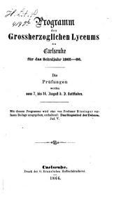 Programm des Grossherzoglichen Lyceums zu Karlsruhe: für das Schuljahr ... 1865/66
