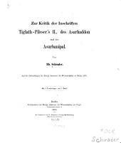 Zur Kritik der Inschriften Tiglath-Pileser's II., des Asarhaddon und des Asurbanipal