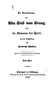 Die Verwandlungen des Ebu Seid von Seru'g oder die Maká men des Hari'ri: Band 1