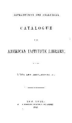 ALPHABETICAL AND ANALYTICAL CATALOGUE