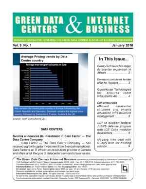 Green Data Centers Monthly Newsletter January 2010