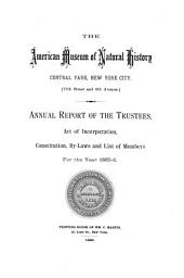 Annual Report - American Museum of Natural History: Volumes 17-26