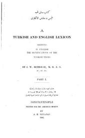 A Turkish and English Lexicon: Shewing in English the Significations of the Turkish Terms, Volume 1