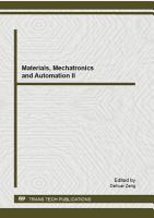 Materials  Mechatronics and Automation II PDF