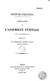Société des correcteurs. Compte rendu de l'assemblée générale du 1er novembre 1866