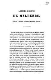 Lettres inédites de Malherbe