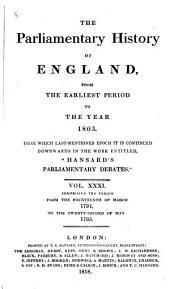 The Parliamentary History of England from the Earliest Period to the Year 1803: Volume 31
