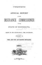 Annual Report of the Insurance Commissioner of the State of Minnesota: Volume 20, Part 1891