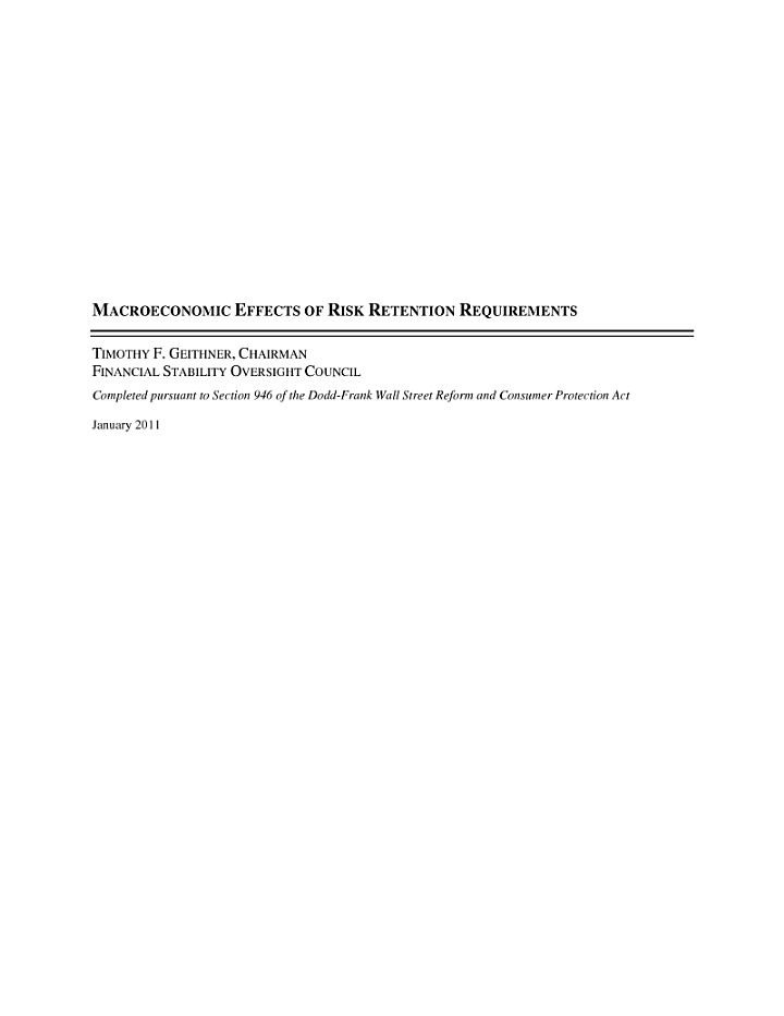 Macroeconomic Effects of Risk Retention Requirements