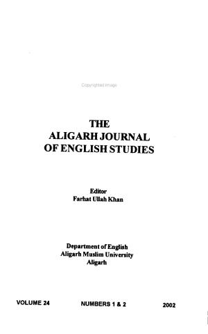 The Aligarh Journal of English Studies PDF