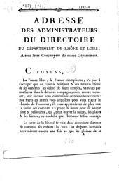 Adresse des administrateurs du directoire du département de Rhône et Loire, a tous leurs Concitoyens du même Département (9 mars 1793)
