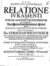 Disp. inaug. de relatione iuramenti, ad forum Saxonicum potissimum accommodata: Von Wiederheimschiebung des Eydes