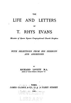 The Life and Letters of T  Rhys Evans PDF